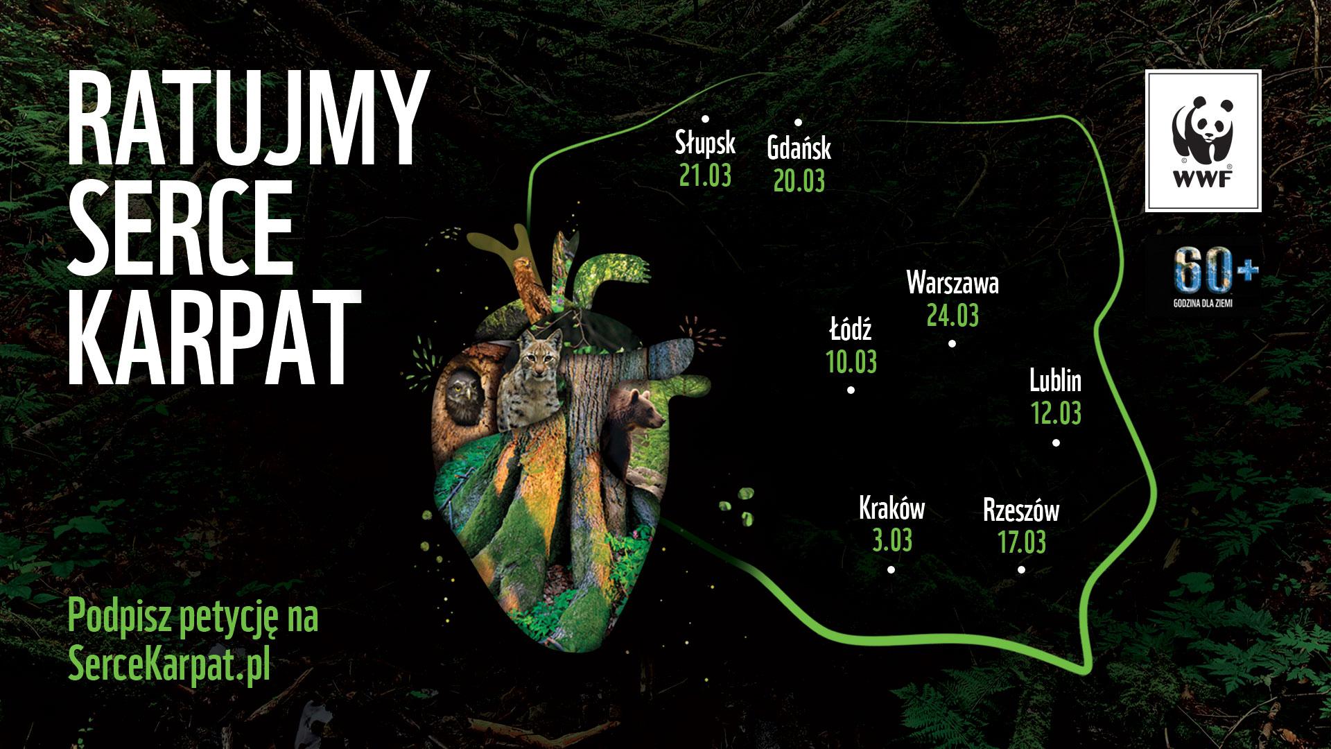 Mapa eventów akcji Godzina dla Ziemi 2018